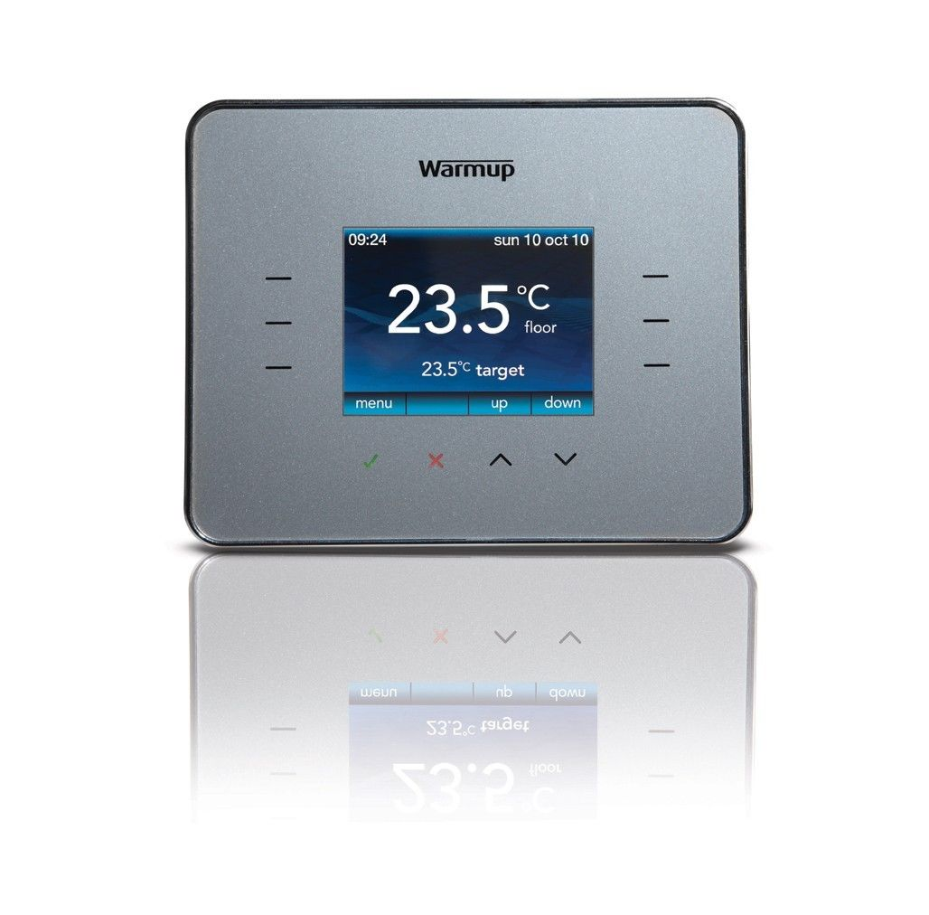 Digital Room Thermostat >> Warmup 3ie Digital Touchscreen Thermostat Silver Grey
